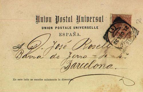 La tarjeta postal española de fecha más antigua